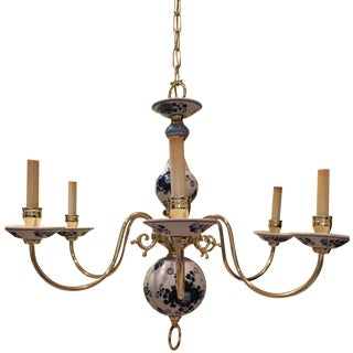 Porcelain And Brass Six Light Chandelier