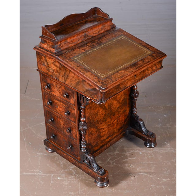 19th C. Burl Walnut Victorian Davenport Desk - Image 2 of 10