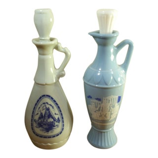 Vintage Jim Beam Milk Glass Decanters - A Pair