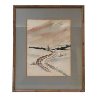 Vintage Watercolor Landscape Painting