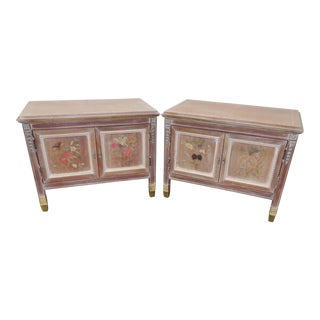 Italian Inlaid Paint Distressed Nightstands - A Pair
