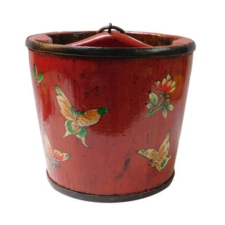Chinese Butterflies Painted Wood Bucket