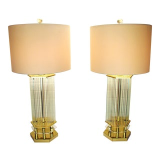 Gaetano Sciolari for Lightolier Italian Brass & Glass Rods Waterfall Table Lamps