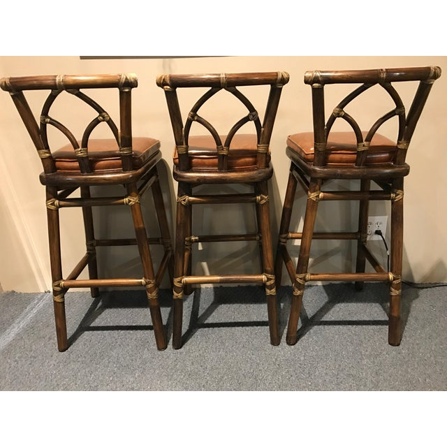McGuire Leather Wrapped Rattan Bar Stools - Set of 3 - Image 5 of 11