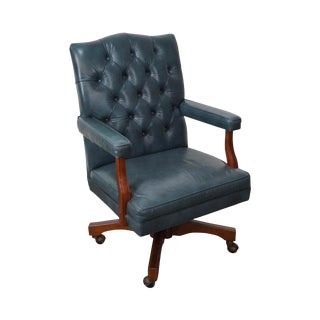 Vintage Blue Tufted Leather Executive Desk Chair
