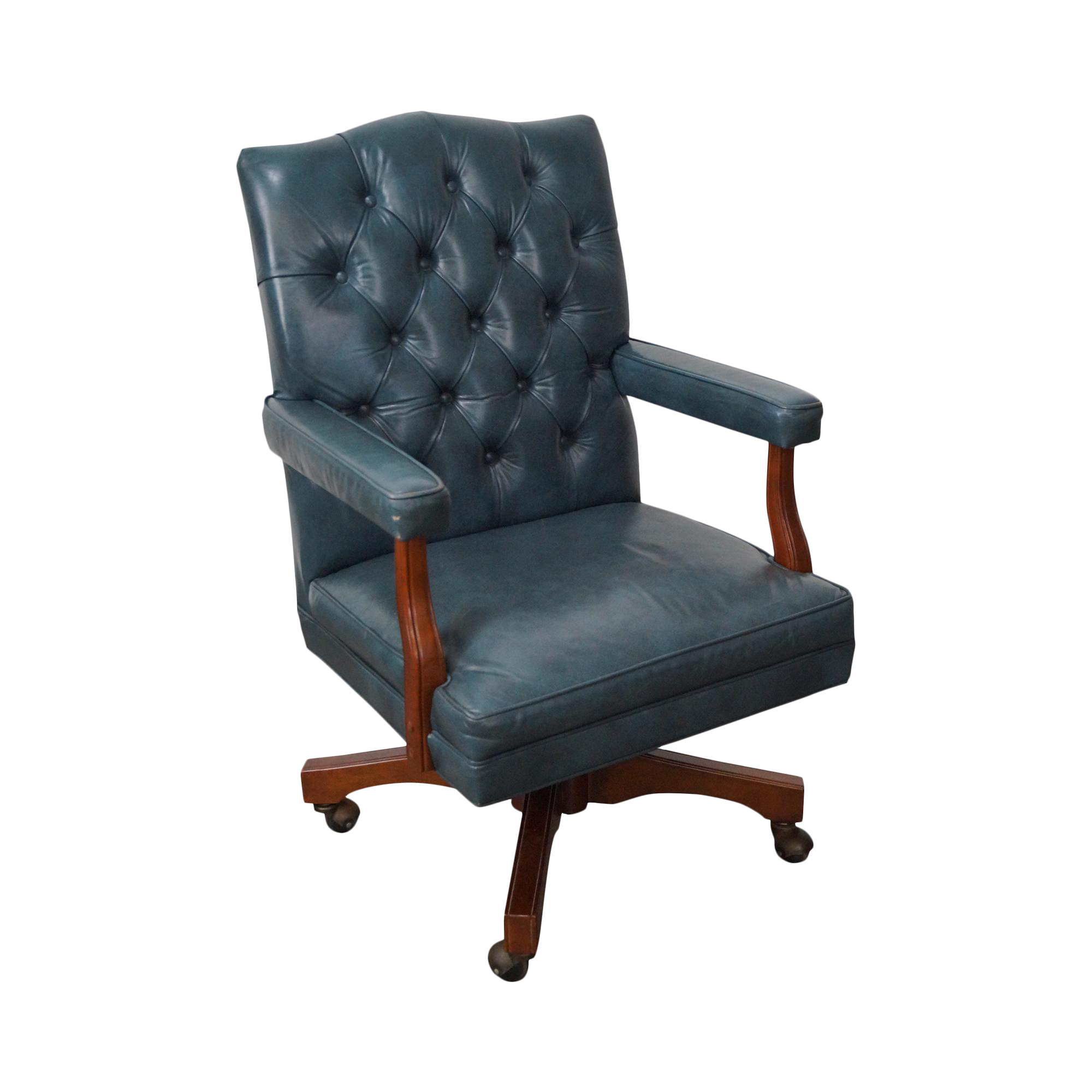 Superb Vintage Blue Tufted Leather Executive Desk Chair