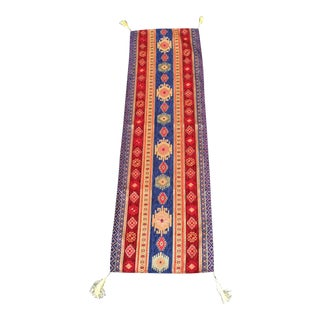 Red Turkish Kilim Table Runner