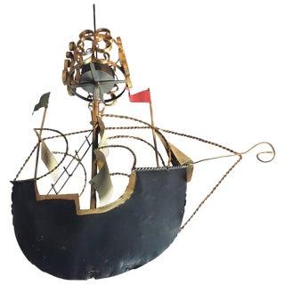 Artisan Handmade Tole Ship Chandelier