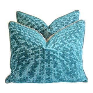 Designer Turquoise Greek Key Velvet Pillows - a Pair
