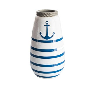 Navy Blue/White Nautical Anchor Vase