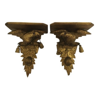 Antique Gilt Carved Eagle Brackets - a Pair
