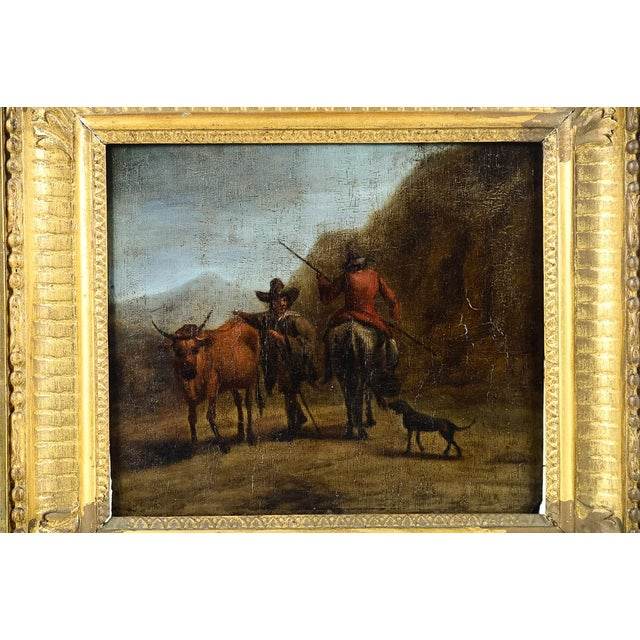 17th C. 'Peasants & Animals' Oil Painting - Image 2 of 4
