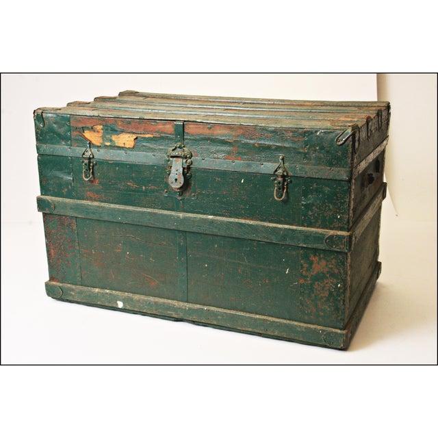 Vintage Industrial Green Wood Steamer Trunk - Image 2 of 11
