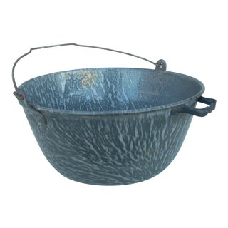 Vintage Gray Granite Splatterware Bucket