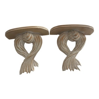 Italian Oversized Carved Wood Rope & Tassel Wall Brackets - a Pair