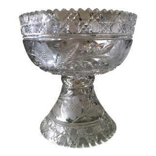 American Brilliant Period Cut Glass Punch Bowl with Base