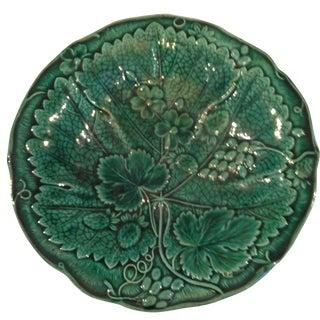 English Majolica Green Wall Plate