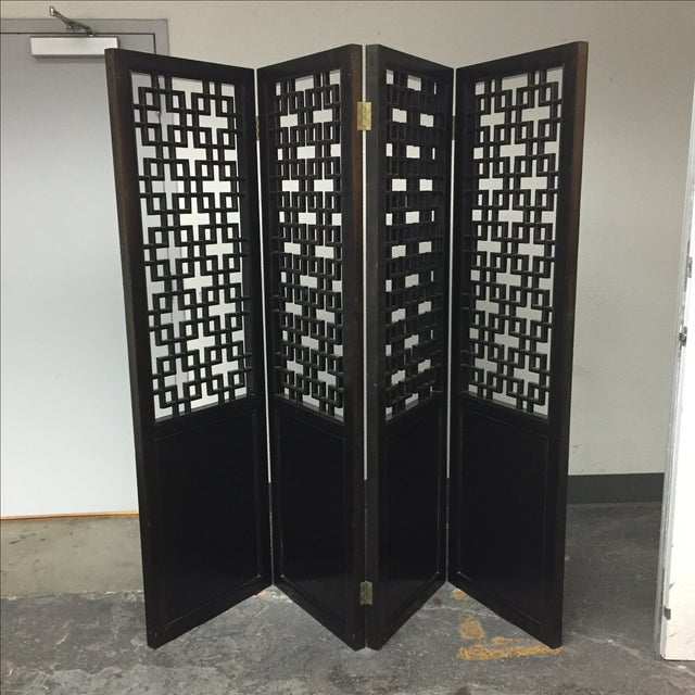 Custom Made Four Panel Wooden Screen - Image 2 of 11