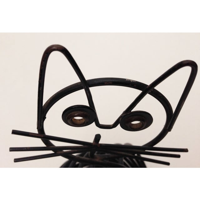 Vintage Mid-Century Black Wire Cat - Image 6 of 6