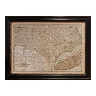 Vintage Sarreid LTD Framed Map North Carolina