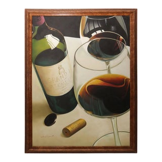 "Oil on Canvas Painting ""Wines of France"" by M. Chapont"