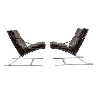 Paul Tuttle 1960s Brown Leather Zeta Chairs - Pair