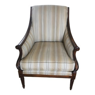 Drexel Heritage Neutral Stripe Bergere Chair