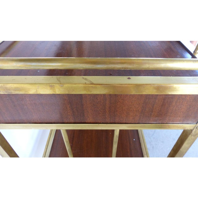 Bi-Level Brass Rolling Bar Trolley W/ Wood Accents - Image 4 of 10