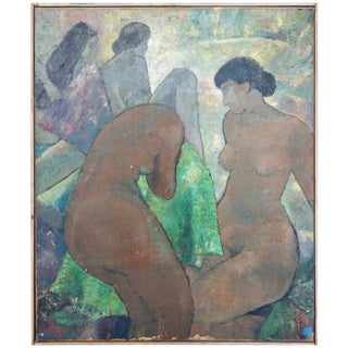 "Bathing Beauties Oil on Canvas Signed ""Paul Hausdorff"", circa 1920"