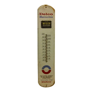 "Vintage Metal Advertising Thermometer - ""Delco Batteries"""