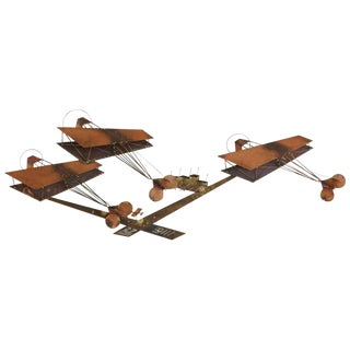Exceptional Signed Curtis Jere Brass Wall Sculpture of Airplanes and Airfield