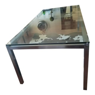 Contemporary Glass Table With Metal Base Base
