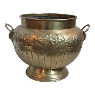 Brass Repousse Cachepot
