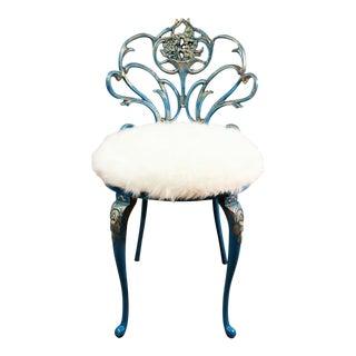 Vintage Kessler Cast Iron Hollywood Regency Vanity Chair