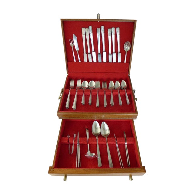 Art Deco Silver Plate Flatware Set for 8 - Image 1 of 6