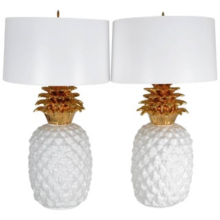 Pair of Monumental Ceramic Pineapple Form Lamps, Italy, circa 1970s