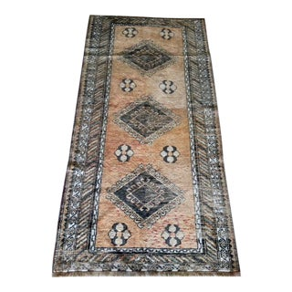 Antique Persian Warm Gold Wool Rug - 3′3″ × 6′4″