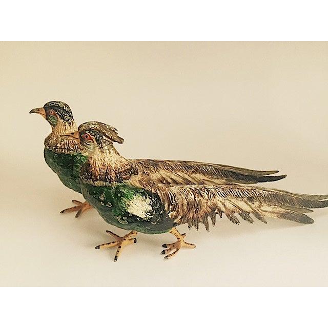 Image of Vintage Hand Painted Brass Pheasants - Pair