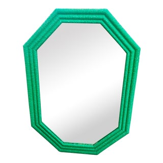 Emerald Green Rattan-Style Mirror