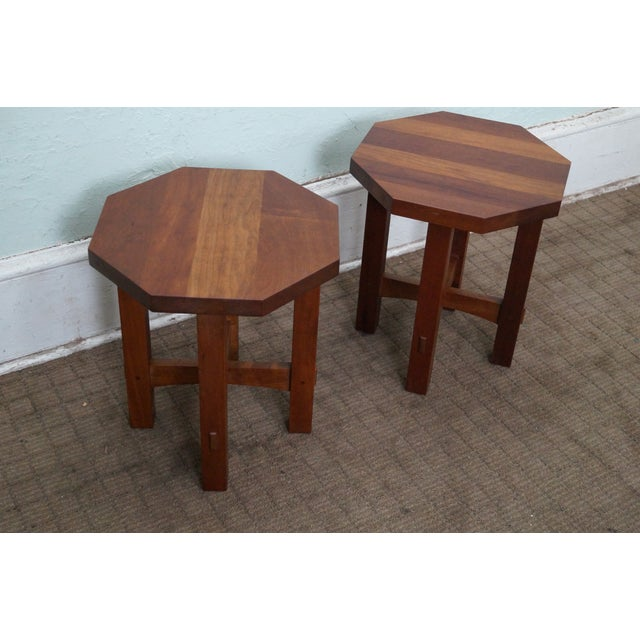 Image of Stickley Mission Style Cherry Side Tables - B Pair