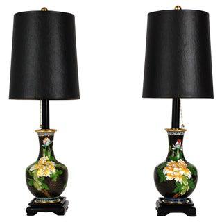 Cloisonné Peony Lamps - A Pair