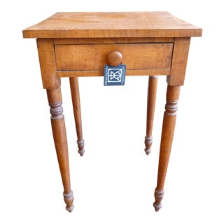 Antique Fiddleback Maple Side Table