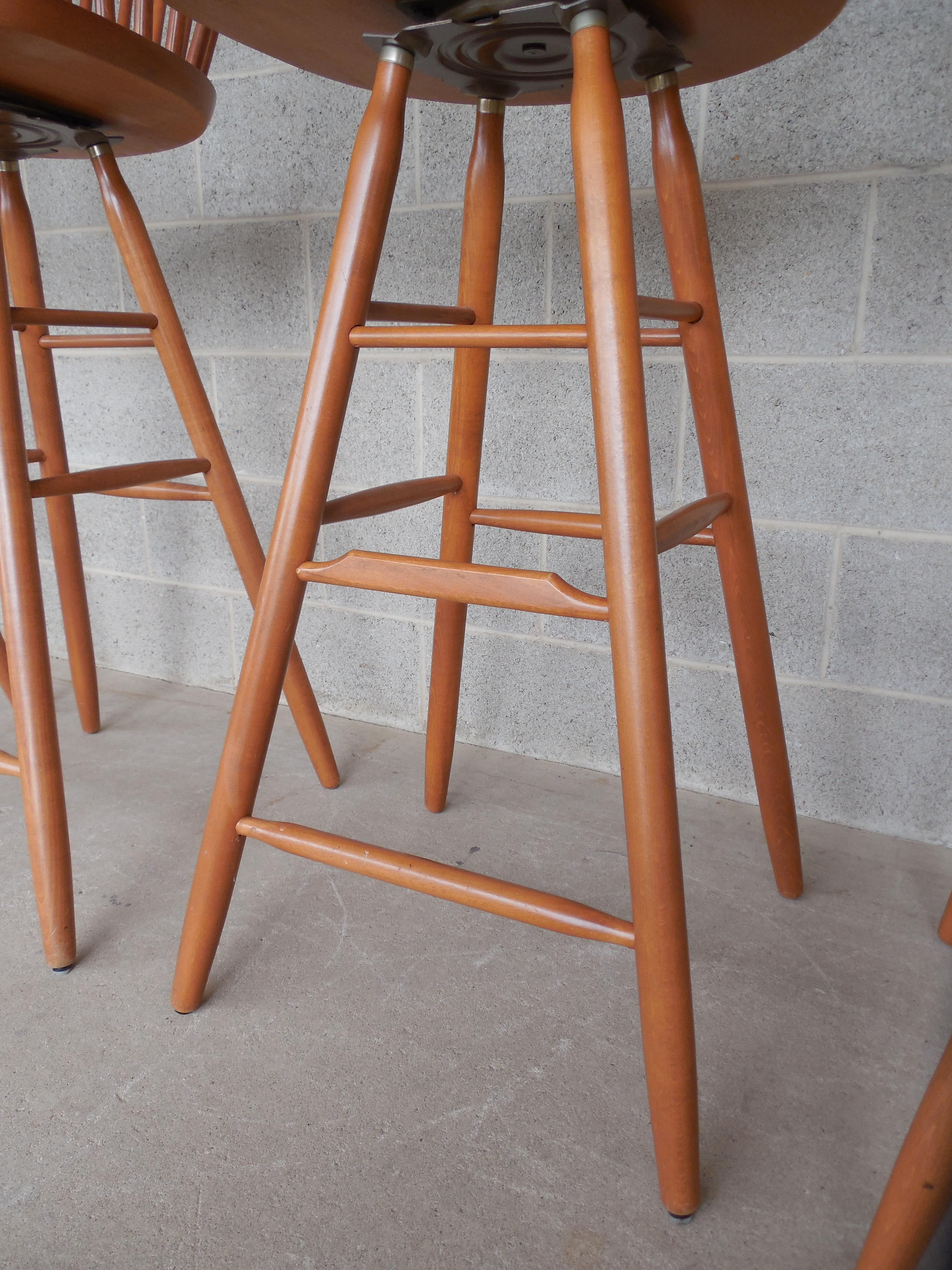 Danish Modern Windsor Hoop Back Style Bar Stools Set Of 4