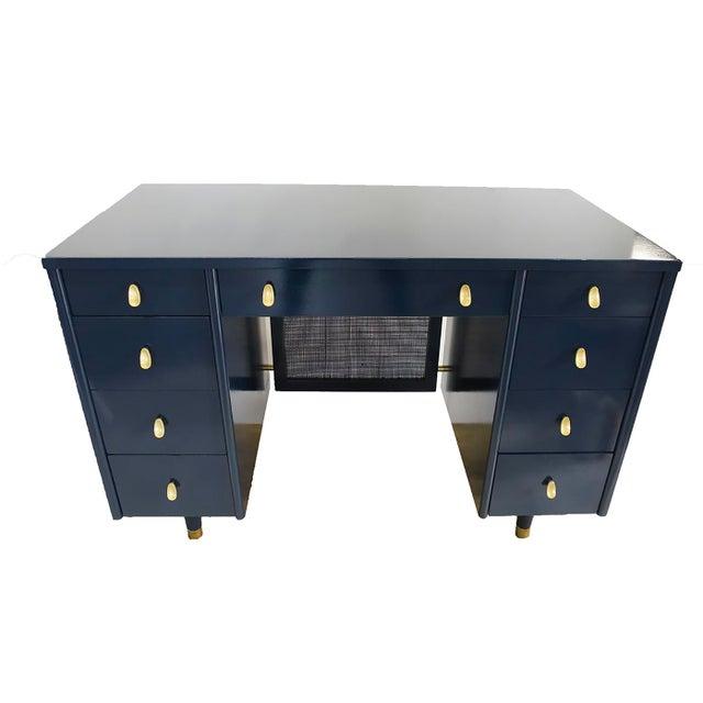 Navy Midcentury Desk - Image 2 of 7
