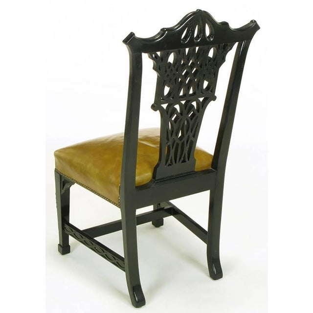 Eight Chinese Chippendale Ebonized Mahogany Dining Chairs with Leather Seats - Image 6 of 9