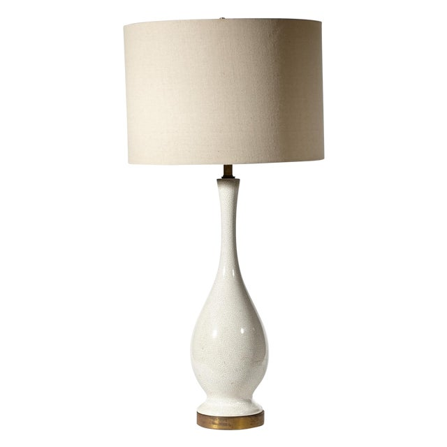 Vintage 1950s White Crackle Table Lamp - Image 1 of 6