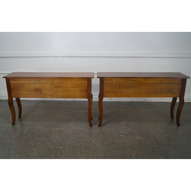 Custom French Country Cherry Wood Console Tables - A Pair - Image 4 of 10