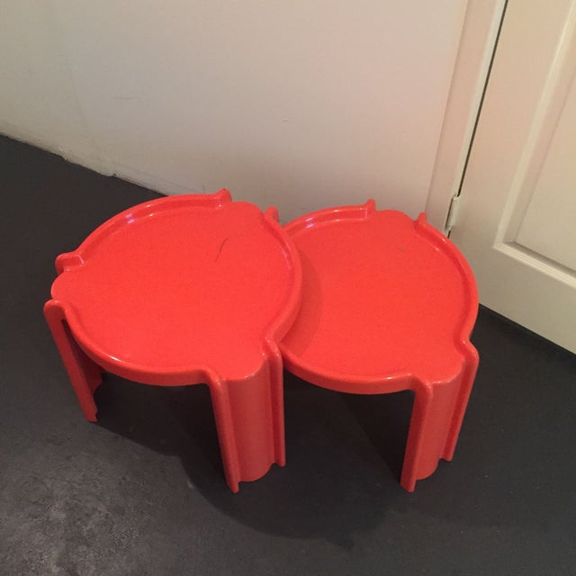 Red Nesting Side Tables - A Pair - Image 5 of 6