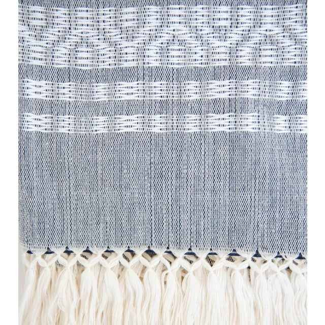 Blue-Gray & White Handwoven Mexican Throw - Image 3 of 4