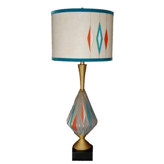 Mid-Century Frosted Glass Lamp & Fiberglass Shade